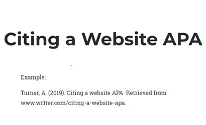 Citing a Website APA