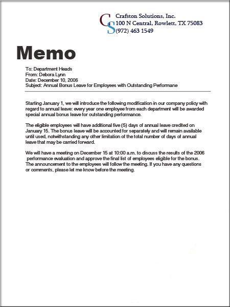 Types of Paper: Memo