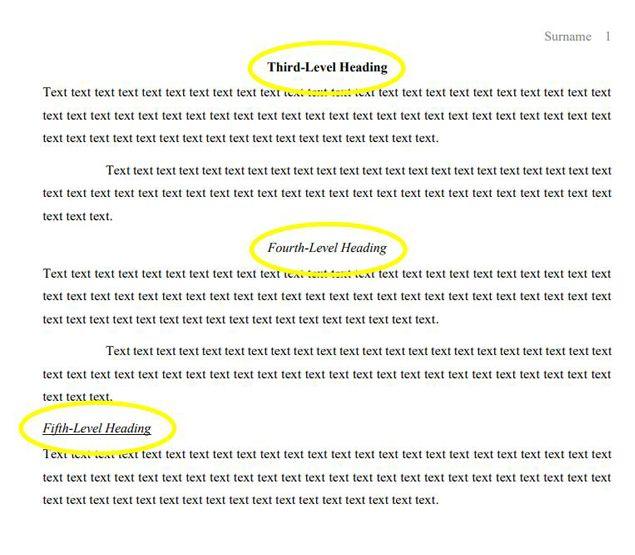 mla format headings