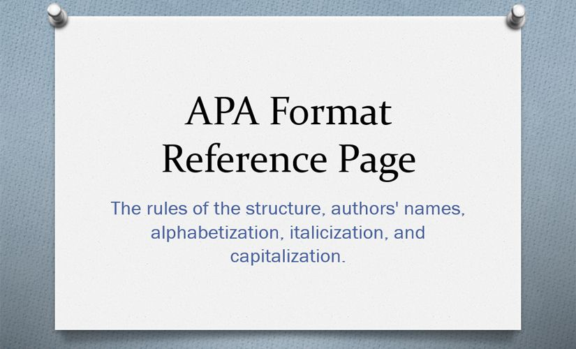 APA format reference page