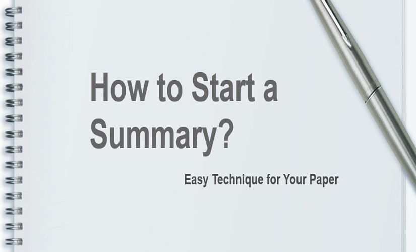 How to start a summary