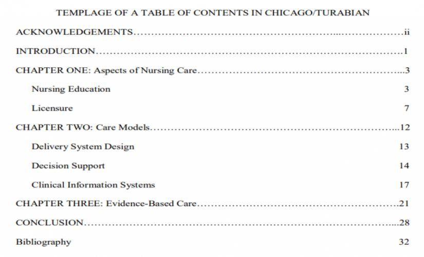 Example of a table of contents in Chicago/Turabian