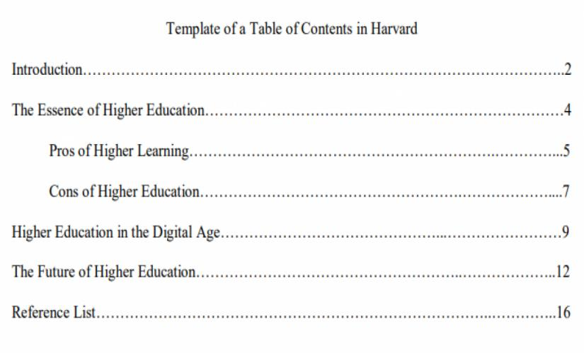 Example of a table of contents in Harvard