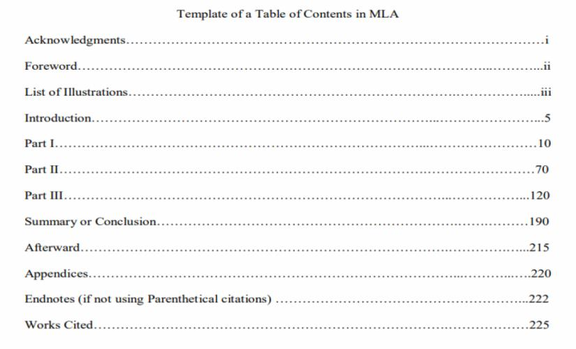 Example of a table of contents in MLA